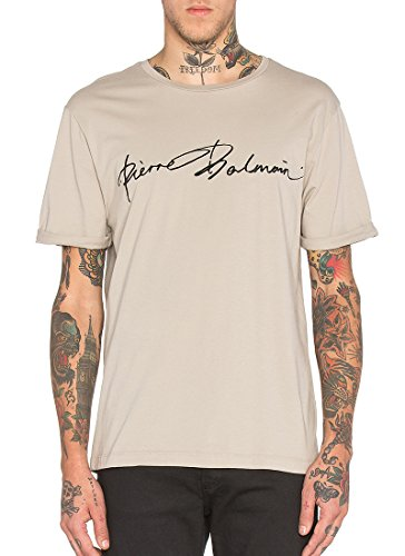 Pierre Balmain Men's PB Signature T-Shirt Khaki - Sale Balmain Men