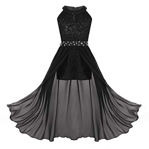 iEFiEL Junior Big Girls High Neck Chiffon Bridesmaid Dress Wedding Party Ball Prom Long Gowns Maxi Romper Black -