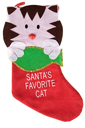Cute Kitten Hanging Christmas Stocking | Don't Forget Your Pet | Santa's Favorite Cat Holiday Decor Theme | Perfect for Small Gifts, Stocking Stuffers, & Candy | Measures 14