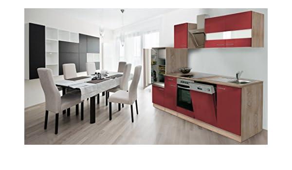 respekta Instalación de Cocina Cocina 280 cm Roble Frontal Rojo ...