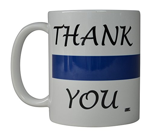 Rogue River Coffee Mug Blue Lives Matter Thank You Blue Line Novelty Cup Great Gift Idea For Police Officer Law Enforcement PD (Thank You) -