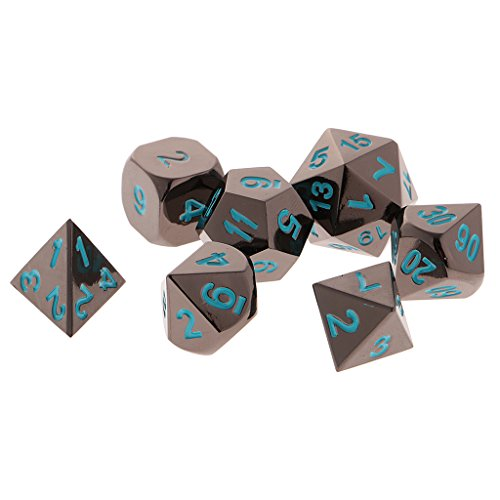 Jili Online 7x Polyhedral Board Game Toy For Dungeons Dragons TRPG DND D4-D20 Dice Blue by Jili Online