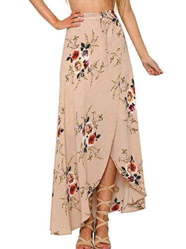 Floral t Jupe Longue Maxi Beige Vintage lgant Apparel Dcontract Imprim Jupe Femme Simplee Haute bohme Taille qHx6wvEX
