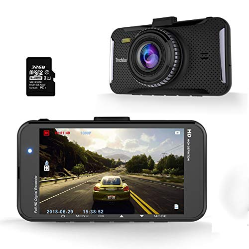 Trochilus Dash Cam, 1080p FHD Dashboard Camera 4 LCD Screen Car Camera 170 Wide Angle,g-Sensor, WDR, Loop Recording, Parking Monitor, Motion Detection 32gb SD Card Included.