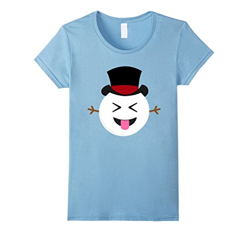 Out Snowman (Womens Christmas Emoji Shirt Funny Snowman Tongue Out T-shirt Small Baby Blue)