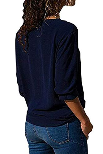 Longues Soie Chemises Mousseline en Casual Femmes Blouse Bleu De Irrgulire Fonc Tops Manches Chemise 1tgxzq