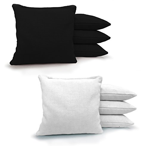 8 Standard Corn Filled Regulation Duck Cloth Cornhole Bags! 17 COLORS (YOU PICK)!! (Black/White)