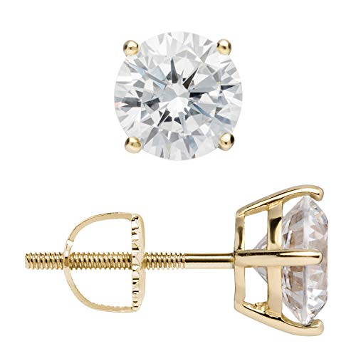 14K Solid Yellow Gold Stud Earrings | Round Cut Cubic Zirconia | Screw Back Posts | 2.0 CTW | With Gift Box (Zirconium Round Earring)