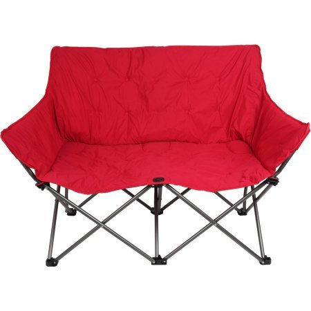 Padded Love Seat Chair-with a mesh storage bag, Red (Camping Loveseat Chair)