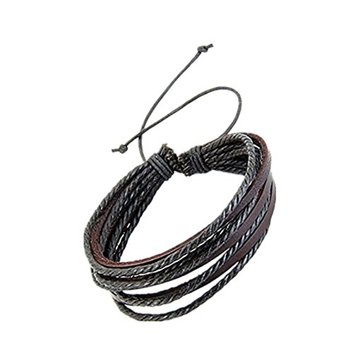 Price comparison product image JSPOYOU Bracelet! Wax Rope Plus Leather Multi-Layer Hand-Woven Simple Casual Men And Women Leather Bracelet by (Brown)