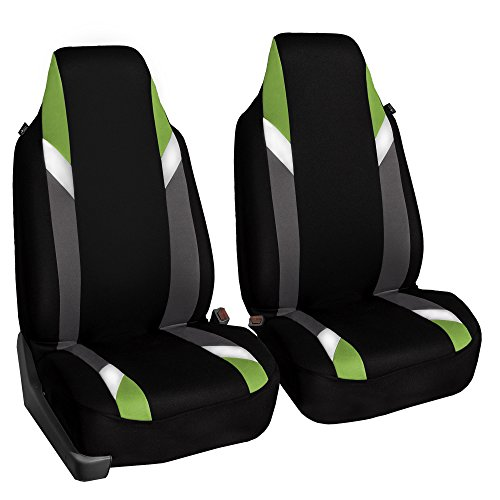 FH Group FB133GREEN102 Bucket Seat Cover (Supreme Modernistic Airbag Compatible (Set of 2) Green) ()