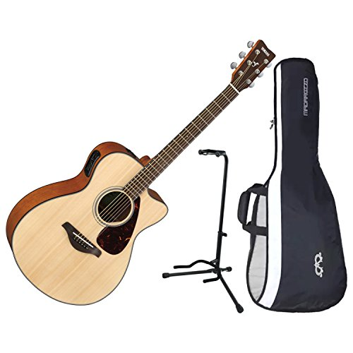 Yamaha FSX800C Cutaway Solid Sitka Top Acoustic Electric Guitar w/ Gig Bag and Stand