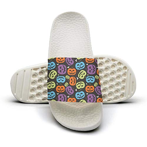 Mens Unique Slipper Halloween Pumpkin Faceswhite Quick-Dry Open Toe Flat Slide Sandals