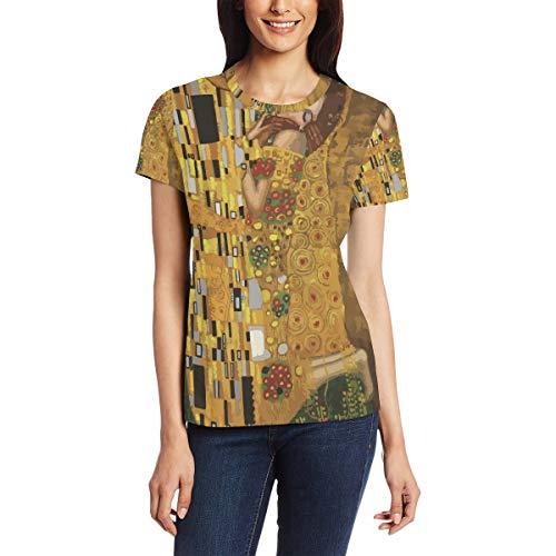 Gustav Klimt Kisses Women's Short Sleeve T-Shirt Crew Neck Casual Soft Elastic Printing Tee Tops for Summer