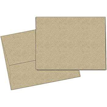 40 Blank Note Cards - Kraft - Matching Color Envelopes Included
