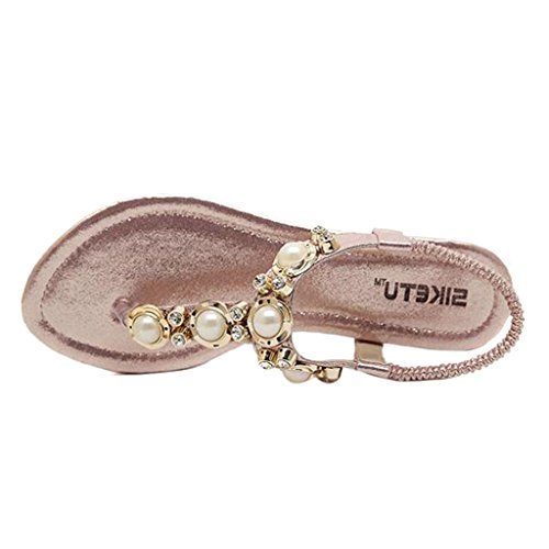 Sandals Beaded Handmade Thong Women's Bohemian Pink Binying 78RxBwt