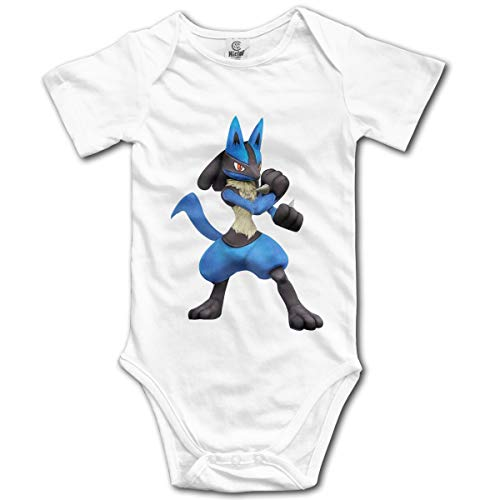 GZBYDGF Lucario Cartoon Logo Comfortable Baby Crawl Suit for Boys and Girls White 6M -