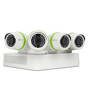 EZVIZ HD 720p Outdoor Surveillance System, 4 Weatherproof HD Security Cameras, 4 Channel 1TB DVR Storage, 100ft Night Vision, Customizable Motion Detection
