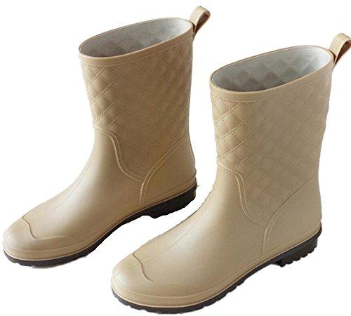 Volwassen Vrouwen Antislip Korte Hoge Rubberen Schoenen Regenlaarzen Abrikoos