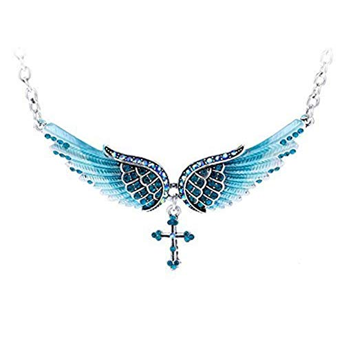 LALANG Angel Wings Cross Pendant Necklace Women Creative Sweater Chain(Blue)