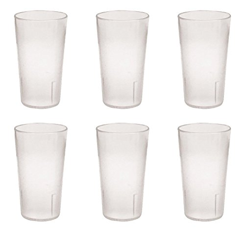 12 Ounce Restaurant Tumbler Beverage Cup, Stackable Cups, Break-Resistant Commmerical Plastic, Pebbled Texture, Set of 6 - Clear (Tumbler Stackable Pebbled Plastic)