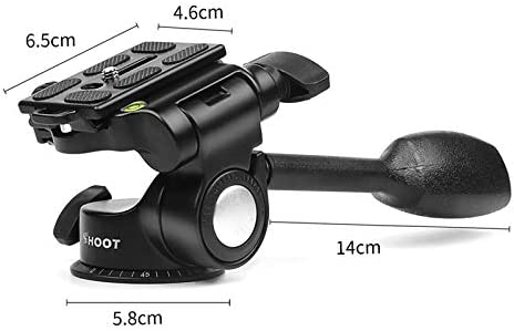 Shoot Aluminum 3-Way Fluid Tripod Ball Head Rocker Arm with Quick Release Plate