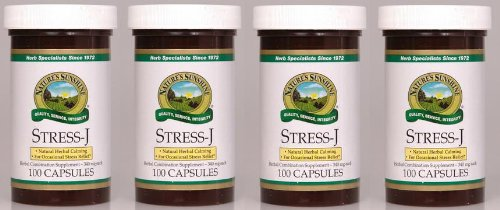 Naturessunshine Stress J Nervous System Support Herbal Combination Supplement 100 Capsules (Pack of 4)