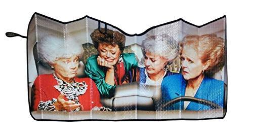 JUST FUNKY Official Golden Girls, Car Window Foldable Rectangle Sunshade/Windshield/Sun Visor, Set of 1, 57 X 28 inch Gift - Auto Sun Shade for Cars, Suv's and Trucks/Sun Shield ()