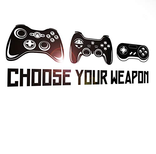 Wall Decal Gamer Gaming Choose Your Weapon Joystick Game Pad Kids Room Decor z4913 (45 in x 15 in)