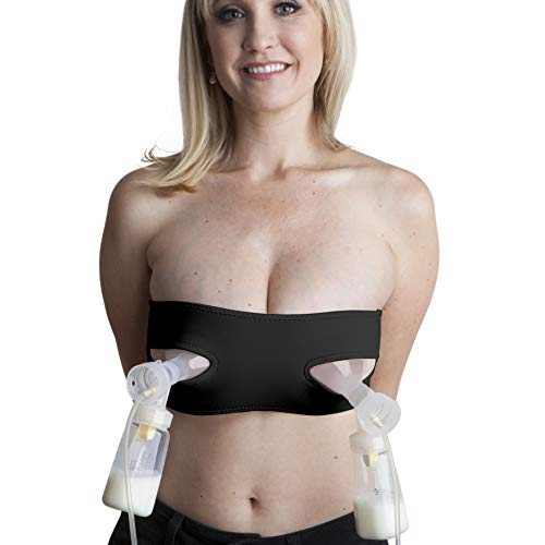 Pump Strap Hands-Free Pumping & Nursing Bra - Pump More in Less Time - Fits All Moms, Adjusts with Body (One Size, Cup A-DD, Black)