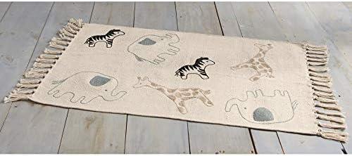 Mud Pie Cotton Safari Animals Nursery Decor Throw Rug Black//White
