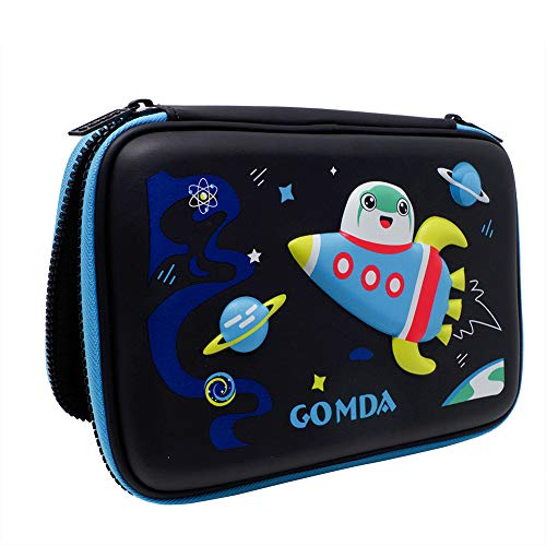 GOMDA Pencil Case,Deluxe Large Capacity Hardtop Pencil Box with Compartments and Zipper- Colored Pencil Holder School Organizer for Children (Black)