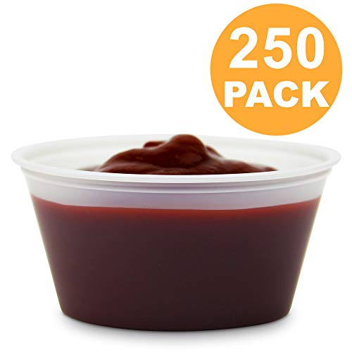 [250 Pack] 3.25 oz BPA Free Plastic Portion Cup - Disposable Jello Shots Sauce Condiment Souffle Dressing Mini Containers, Medicine Cups No Lids