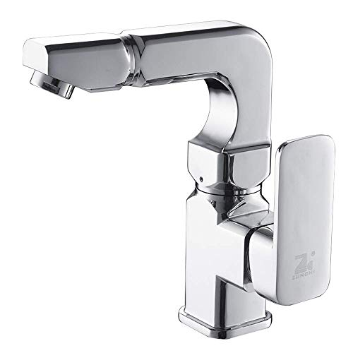 Bathroom Vanity Faucet with Single Handle Sink Mixer Tap for Lavatory Polished Chrome Vessel Bowl One Hole Deck Mount Basin Brass Basin Hot Cold Water Ceramic Valve Handle Hand ()