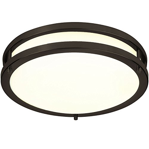 Rubbed Bronze 12 Light - Green Beam Energy Efficient 12-Inch LED Flush Mount Ceiling Light, Perfect for Kitchen, Office, Living Room | Oil Rubbed Bronze, 3000K Warm White, 15 Watt-1050 Lumens, Dimmable