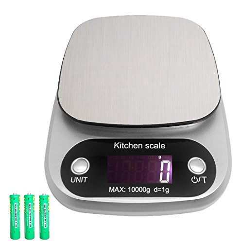 Digital Kitchen Food Scale 22lb 10kgs for Volume and Weight LCD Display Tare Stainless Steel G OZ LB ML FL.OZ Silver Batteries Included