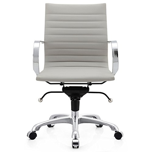 M365 Grey Vegan Leather Office Chair Chrome, Faux Leather