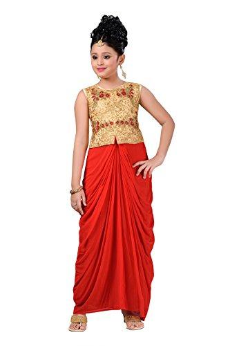 Aarika Girl's Self Design Net Fabric Party Wear Dress (DR-3504-RED_32_9-10 Years) by Aarika