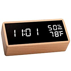 meross Digital Alarm Clock for Bedrooms, Real Wood, LED Display Desk Clock, Time Temperature Humidity, 3 Sets of Alarms, Adjustable Brightness, Sound Control Function