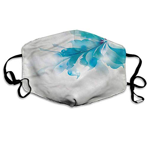(Abstract Dust Mouth Mask Blue Ombre Flowers for Men and Women W4