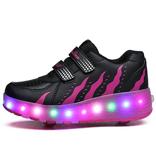 SIKAINI LED Zapatillas Deporte Patín ruedas Luminoso Formadores Niños LED con Un Adulto Rueda Intermitente Zapatos Black Pink-028