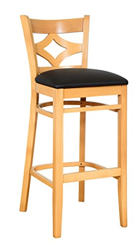 Beechwood Mountain BSD-23B-N Solid Beech Wood Bar Stool in Natural for Kitchen and dining
