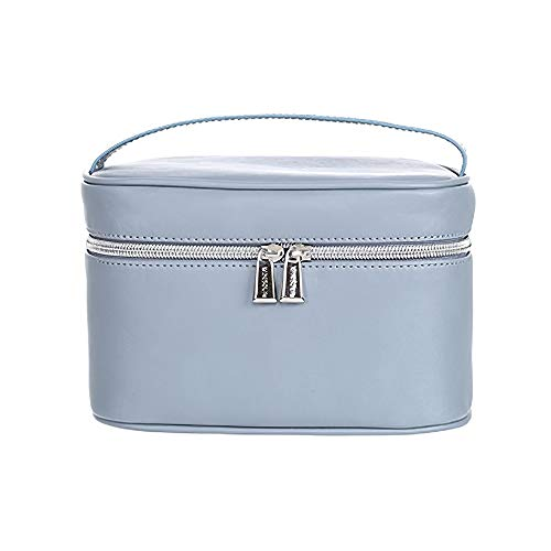 MINISO Ladies Rectangle Solid Color Portable Zipper Cosmetic Bag Blue