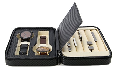 Italian Leather Tie Case (Executive High class Cufflink Case & Ring Storage Organizer Men's Jewelry Box Gift (Black))