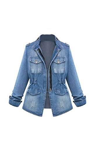 Womens Denim Jeans Jacket Blazer - Zilcremo Women Autumn Casual Stand Neck Washed Long Sleeve Denim Jacket Blazer Outcoat Plus Size Blue 4XL