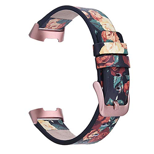 TOROTOP Compatible wth Charge 3 Band/Charge 3 SE Bands, Classy Floral Leather Bracelet Replacement Bands Strap Wristbands Compatible for Charge 3 Band (Rose- with Rose Pink Adapter and -