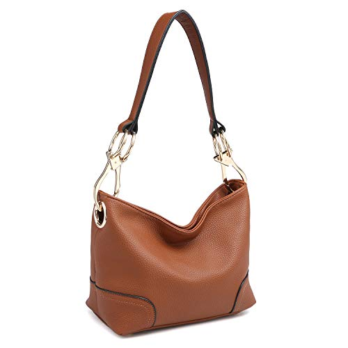 Dasein Women's Classic Faux Leather Hobo Purse Shoulder Bag Tote Handbag (7967 Smaller Style- Brown)