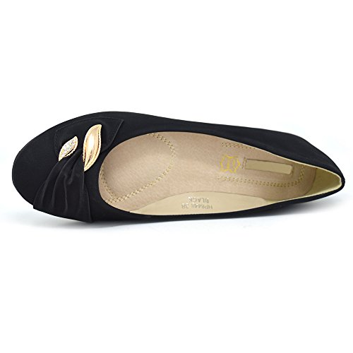 Black Black Ballerina Pumps On Golden Flats 3 Comfy Ballet Loafer Womens Diamante Xelay Shoes Work Studded 8 Slip Size wIqaAY