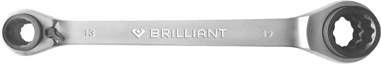 10x13,17x19mm Chrom-Vanadium-Stahl BRILLIANT TOOLS BT013901 4-in-1 Doppelratschenringschl/üssel