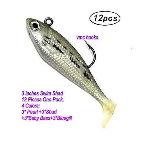 Wtrees Best Swim Shad Swimbaits Plastics Soft Lures Baits for Bass Fishing (12 of Pack 3